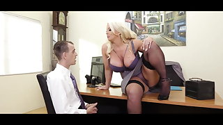Big tits nearby office: busty MILF boss with the addition of her male employee