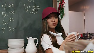 Vina Sky spreads her legs for a friend's hard weasel words in the classroom