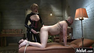 Madeline fucks a guy with a strap-on before she starts riding his prick - bondage