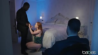 Redhead wife Ella Hughes rides a black dick while her husband watches