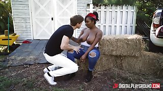 Fat black chick Layton Benton fucked apart from a white guy in outdoors