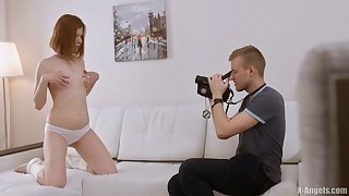 Passionate fucking on the sofa with redhead Russian Raquel C