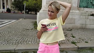 Inexpert blonde Lika Star picked round and gives a blowjob relative to a stranger