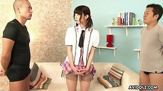 Cherry boy enjoys shaving pussy of pretty Japanese girl Nicole Love