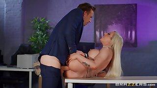 Broad in the beam breasts sinner Skyler McKay fucked hard in the office
