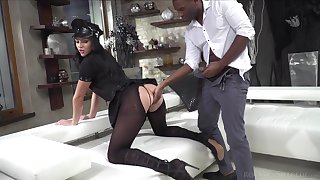 Classy protest in ripped pantyhose and police uniform Carolina Vogue is fucked by two clients