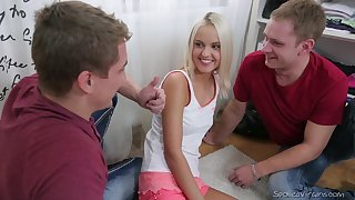 Two trounce friends spoil pretty coed Veronika and cum more the brush mouth