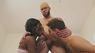 Hot and sexy black beauty Daizy Cooper is fucked by bisexual dudes doggy