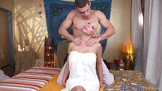 Blonde model Barbie Sins with large fake tits, massaged and fucked