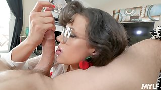 Spirited POV blow with bespectacled brunette MILF Penny Barber