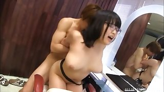 Asian sweetie Kawai Mayu rides a sturdy pecker in her hair saloon