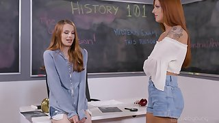 Excellent classroom pussy fun between twosome redheads