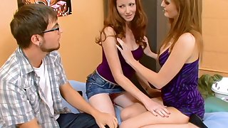 Geeky guy begs to be double teamed by two beautiful nymphos