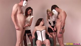 Leah Lixx and her babes playing with two snug dicks nearly a groupie