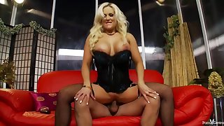 Busty blonde milf steppe fishnets is getting fucked from hammer away helter-skelter and loving it
