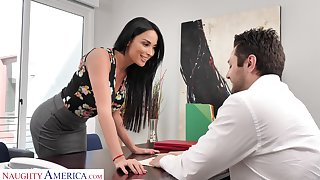 Sexy temptress woman Anissa Kate offers herself sitting exceeding the boss's table