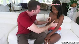 Ebony babe Jezabel Vessir gets her kicks with a white guy