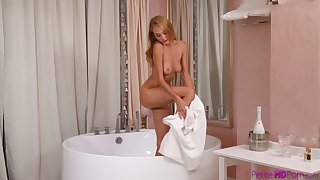 Skinny blondie Nancy A gives head plus moans during wild fucking