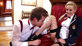 Flaxen-haired beauty fits giant cock in her shaved snatch
